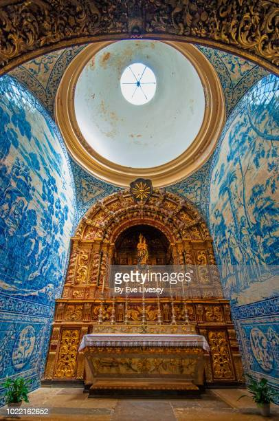 shrine, virgin mary's cathedral - faro city portugal stock photos and pictures