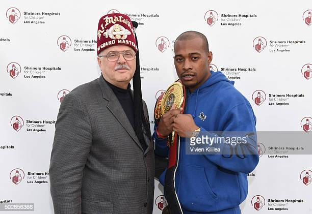 Shriners Hospitals for Children Los Angeles board chairman David R Doan and boxer Brian Reynolds attend Celebrities Decorate The Shriners Rose Parade...