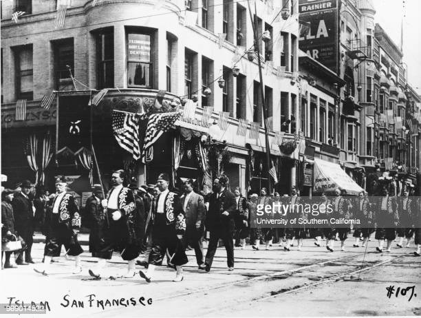 Shriner's parade Islam contingent of San Francisco FR Cunningham Harry C Newman Dentists office LAToCo Robinsons Los Angeles California early to mid...