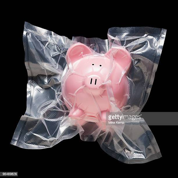 shrink wrapped piggy bank - airtight stock photos and pictures