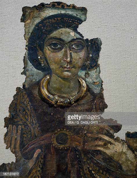 Shroud woman known as the Lady of the ankh painting on linen canvas from Antinoe Egypt Coptic civilisation 4th century Paris Musée Du Louvre