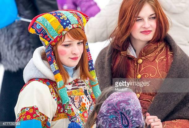 shrovetide mummers - babushka stock pictures, royalty-free photos & images