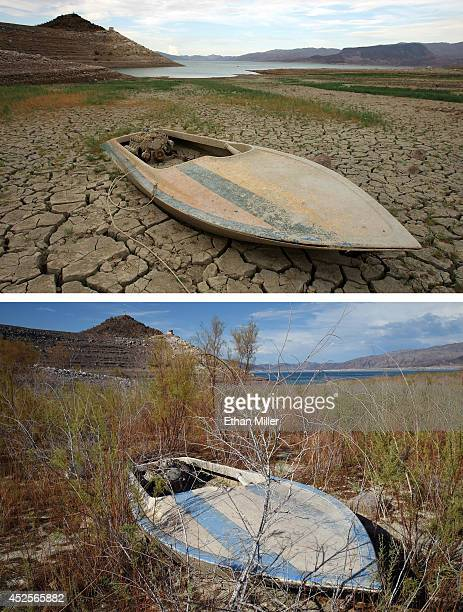 In this beforeandafter composite image A mudcovered boat is seen in an area that was until recently underwater July 26 2007 in the Lake Mead National...