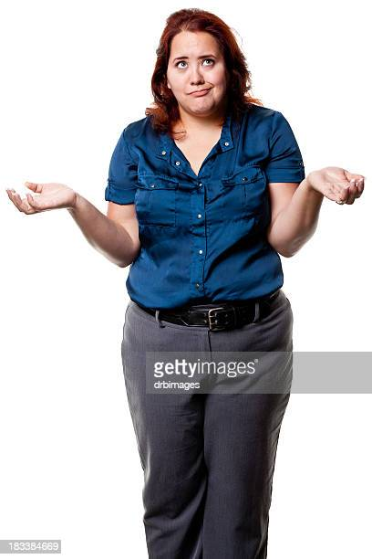 shrugging woman three quarter length - big fat white women stockfoto's en -beelden