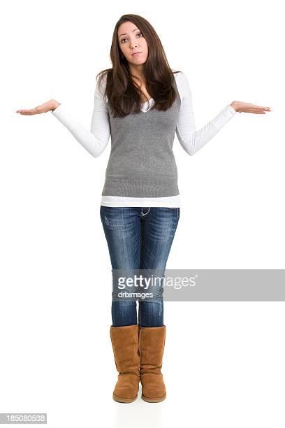 Achselzucken Junge Frau stehend