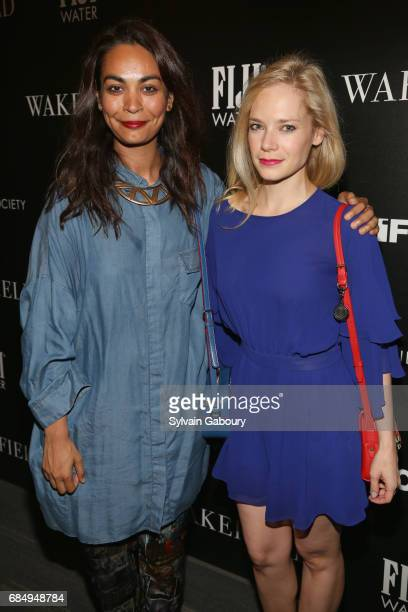 Shruti Ganguly and Caitlin Mehner attends The Cinema Society and FIJI Water host a screening of IFC Films' 'Wakefield' on May 18 2017 in New York City