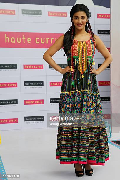 Shruti Haasan walks the runway at Shoppers Stop's 'Haute Curry' Collection at Shoppers Stop on June 16 2015 in Mumbai India