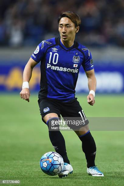 Shu Kurata 00 looks to pass the ball during the AFC Champions League Group H match between Gamba Osaka v Adelaide United at Suita City Football...
