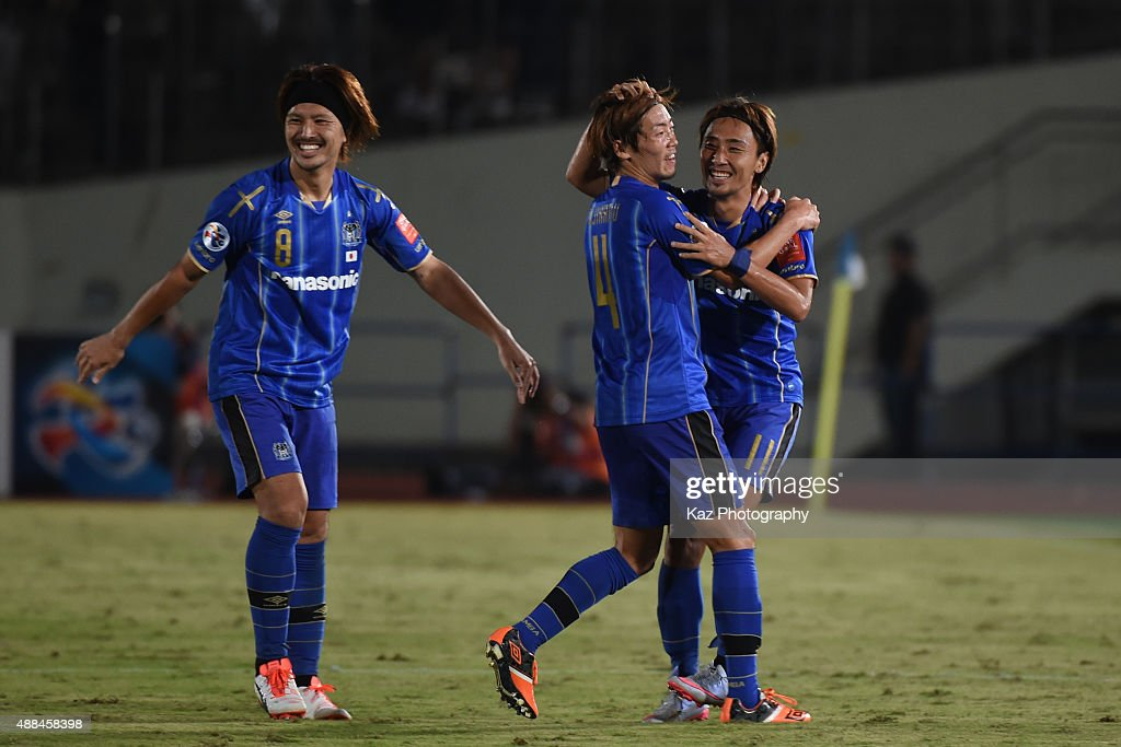 Shu Kurata of Gamba Osaka, celebrates his 2nd goal with Hiroki Fujiharu of Gamba Osaka during the AFC Champions League quarter final match between Gamba Osaka and Jeonbuk Hyundai Motors ]at Expo '70 Stadium on September 16, 2015 in Osaka, Japan.
