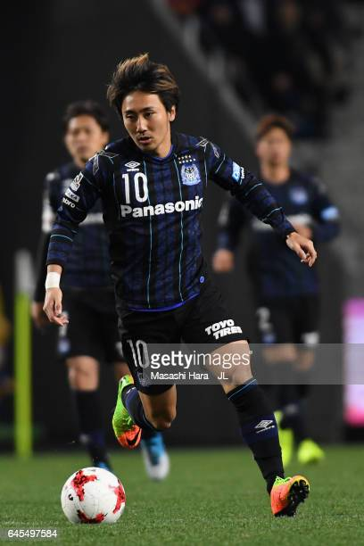 Shu Kurata of Gamba Osaka in action during the JLeague J1 match between Gamba Osaka and Ventforet Kofu at Suita City Football Stadium on February 26...