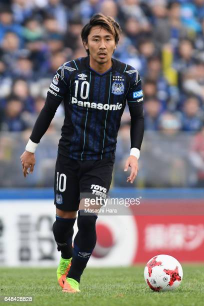 Shu Kurata of Gamba Osaka in action during the JLeague J1 match between Kashiwa Reysol and Gamba Osaka at Hitachi Kashiwa Soccer Stadium on March 5...
