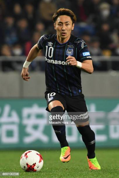 Shu Kurata of Gamba Osaka in action during the JLeague J1 match between Gamba Osaka and Urawa Red Diamonds at Suita City Football Stadium on March 19...
