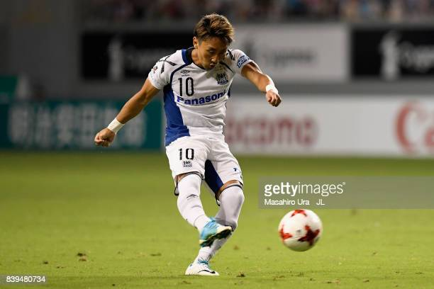Shu Kurata of Gamba Osaka scores the opening goal during the JLeague J1 match between Sagan Tosu and Gamba Osaka at Best Amenity Stadium on August 26...