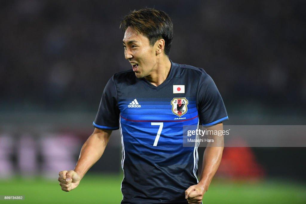 Shu Kurata of Japan celebrates scoring the opening goal during the international friendly match between Japan and Haiti at Nissan Stadium on October 10, 2017 in Yokohama, Kanagawa, Japan.