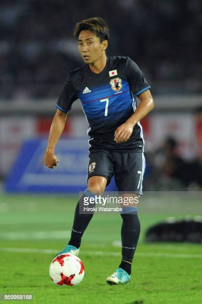 Shu Kurata of Japan in action during the international friendly match between Japan and Haiti at Nissan Stadium on October 10 2017 in Yokohama...