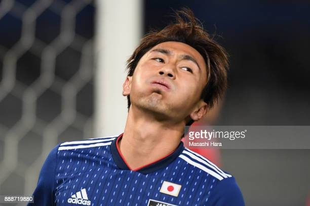 Shu Kurata of Japan reacts during the EAFF E1 Men's Football Championship between Japan and North Korea at Ajinomoto Stadium on December 9 2017 in...