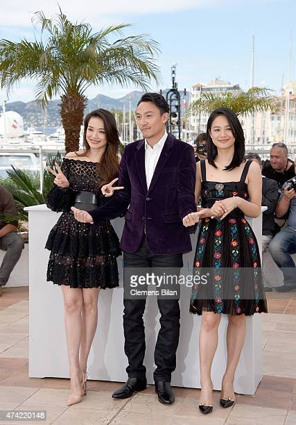 Shu Qi Chang Chen and Zhou Yun attend a photocall for Nie Yinniang during the 68th annual Cannes Film Festival on May 21 2015 in Cannes France
