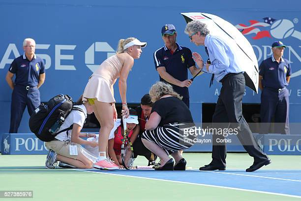 Shuai Peng China feeling ill during the second set could not continue and had to retire during her match with Caroline Wozniacki Denmark in the...
