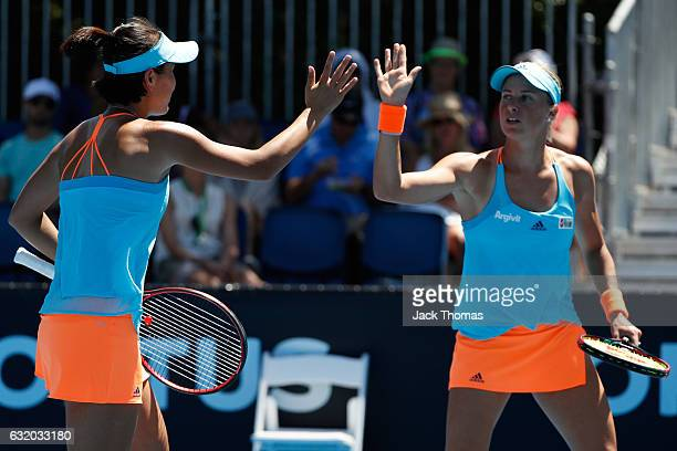 Shuai Peng of China and Andrea Hlavackova of the Czech Republic compete against Misaki Doi and Kurumi Nara of Japan in their first round match on day...
