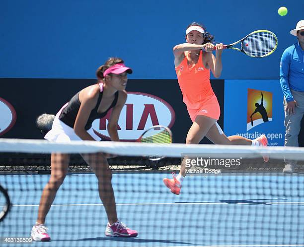 Shuai Peng of China and SuWei Hsieh of Chinese Taipei in action in their second round doubles match against Shahar Peer of Israel and Silvia...