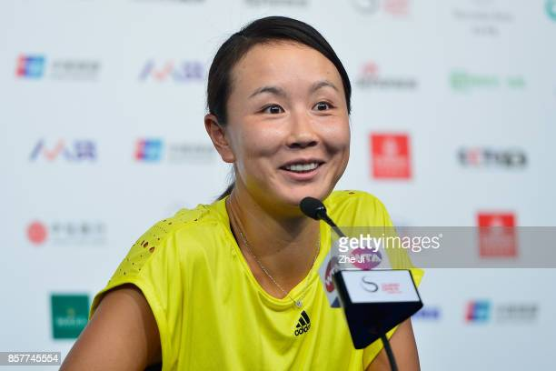 Shuai Peng of China attends the press conference after retiring due injury during the match against Jelena Ostapenko of Latvia on day six of the 2017...