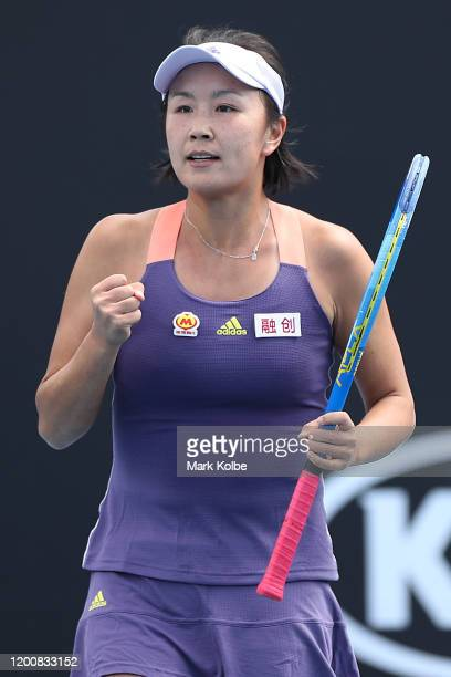 Shuai Peng of China celebrates after winning a point during her Women's Singles first round match against Nao Hibino of Japan on day two of the 2020...