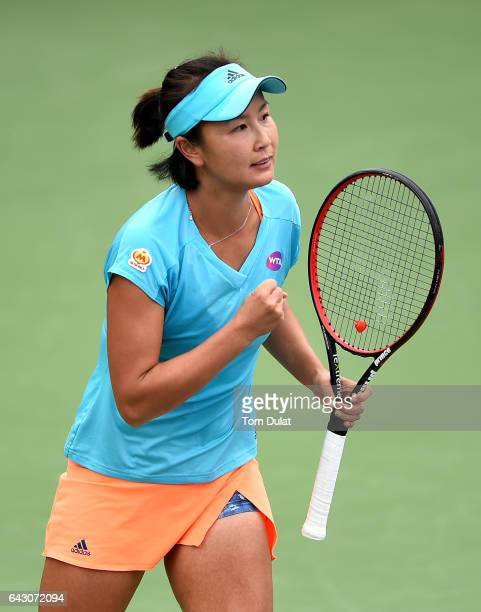 Shuai Peng of China celebrates beating Lesia Tsurenko of Ukraine during day two of the WTA Dubai Duty Free Tennis Championship at the Dubai Tennis...