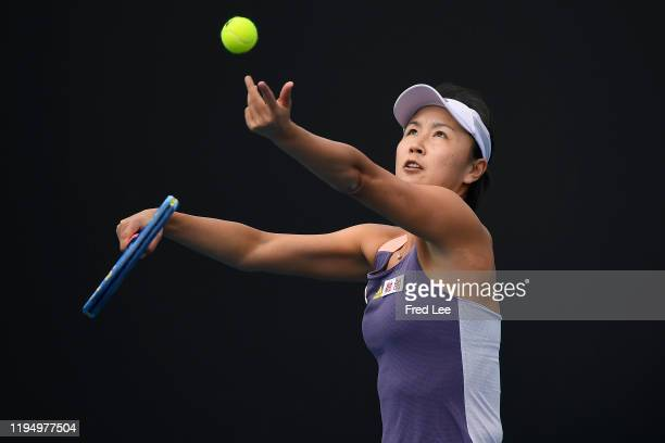 Shuai Peng of China in action during her Women's Singles first round match against Nao Hibino of Japan on day two of the 2020 Australian Open at...