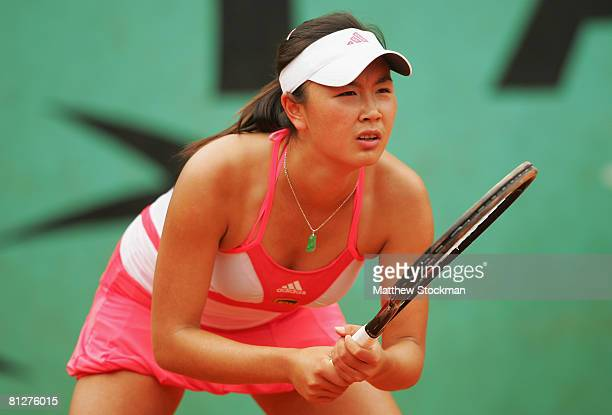 Shuai Peng of China in action during the Women's Singles second round match against Iveta Benesova of Czech Republic on day five of the French Open...