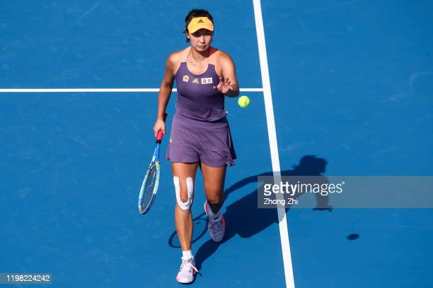 Shuai Peng of China looks on during the match against Ekaterina Alexandrova of Russia on Day 4 of 2020 WTA Shenzhen Open at Shenzhen Longgang Sports...