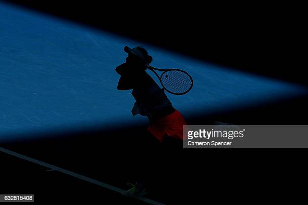 Shuai Peng of China plays a shot in her Women's Doubles Final match with Andrea Hlavackova of the Czech Republic against Bethanie MattekSands of the...