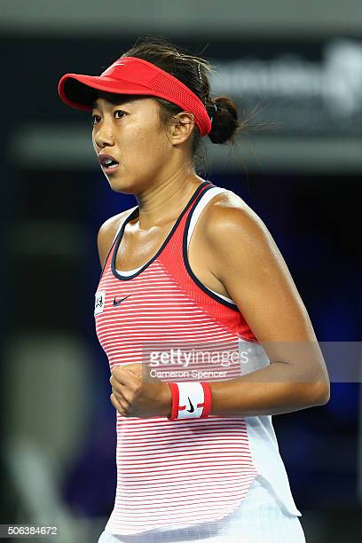 Shuai Zhang of China celebrates a point in her third round match against Varvara Lepchenko of United States during day six of the 2016 Australian...