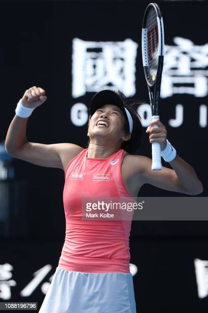 Shuai Zhang of China celebrates championship point after winning her Women's Doubles Final match with Samantha Stosur of Australia against Timea...
