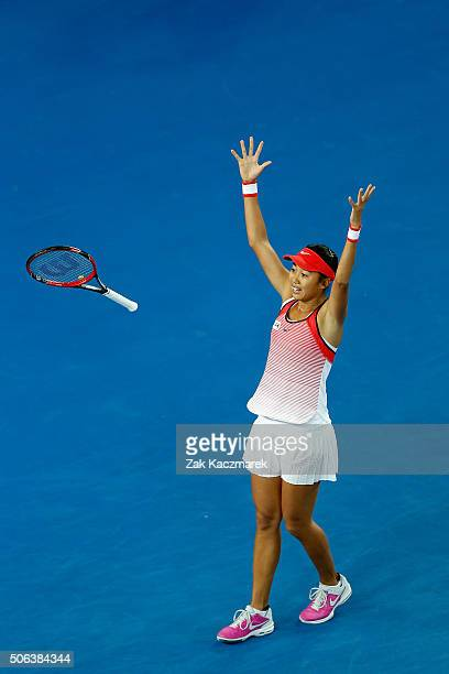 Shuai Zhang of China celebrates winning her third round match against Varvara Lepchenko of United States of Americaduring day six of the 2016...