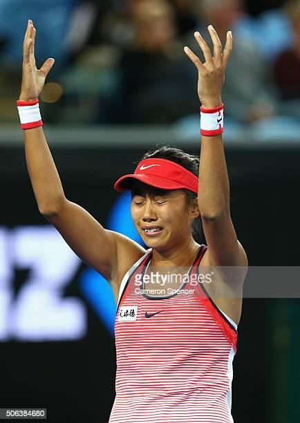 Shuai Zhang of China celebrates winning her third round match against Varvara Lepchenko of United States during day six of the 2016 Australian Open...