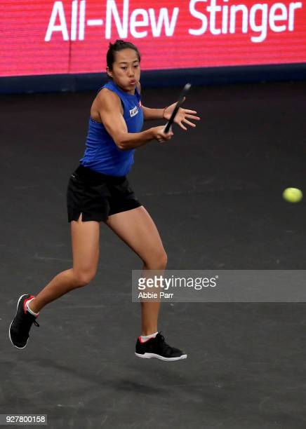 Shuai Zhang of China competes against Elina Svitolina in the championship round of the Tie Break Tens at Madison Square Garden on March 5 2018 in New...