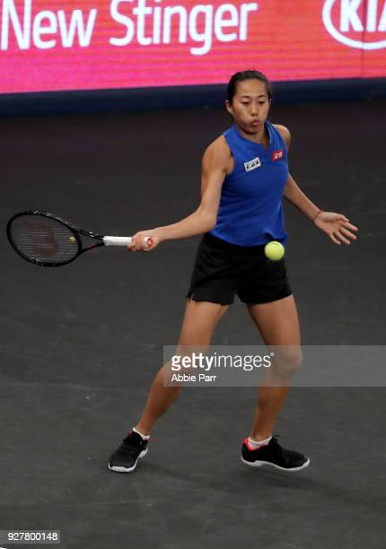 Shuai Zhang of China competes against Elina Svitolina of the Ukraine in the championship round of the Tie Break Tens at Madison Square Garden on...