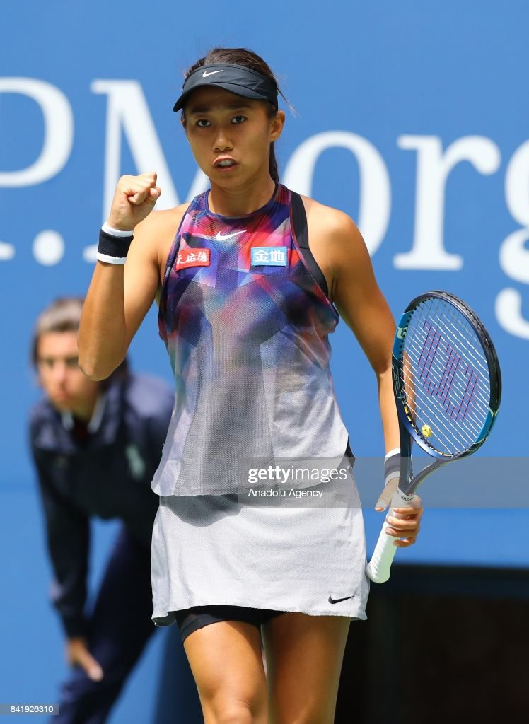 Shuai Zhang of China gestures after scoring a point against Karolina Pliskova (not seen) of Czech Republic in Women's Singles round three tennis match within 2017 US Open Tennis Championships at Arthur Ashe Stadium in New York, United States on September 2, 2017.