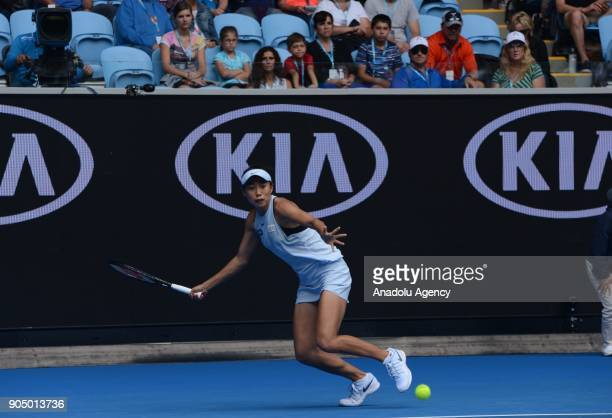 Shuai Zhang of China in action against Sloane Stephens of USA on day one of the 2018 Australian Open at Melbourne Park on January 15 2018 in...