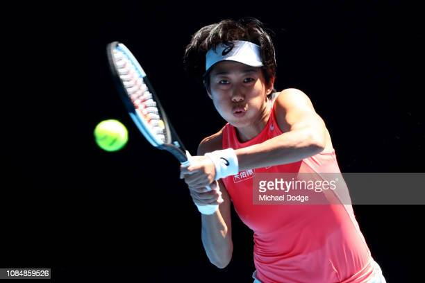 Shuai Zhang of China plays a backhand in her third round match against Elina Svitolina of Ukraine during day six of the 2019 Australian Open at...