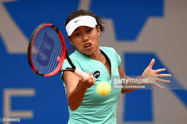 Shuai Zhang of China plays a forehand in her match against Misaki Doi of Japan during Day Three of the Nuernberger Versicherungscup 2015 on May 19...