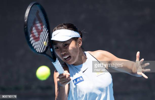 Shuai Zhang of China plays a forehand in her second round match against Denisa Allertova of the Czech Republic on day three of the 2018 Australian...