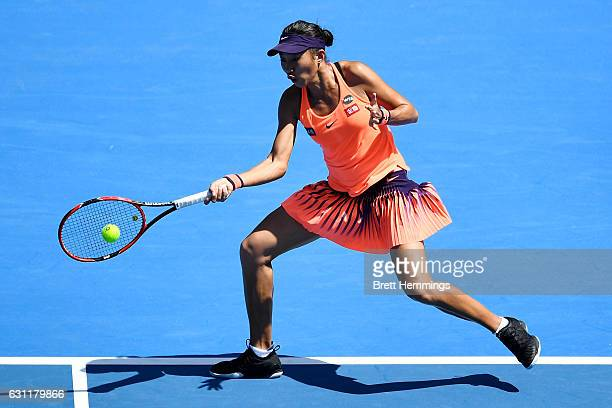 Shuai Zhang of China plays a forehand shot in her first round match against Eugenie Bouchard of Canada during the 2017 Sydney International at Sydney...