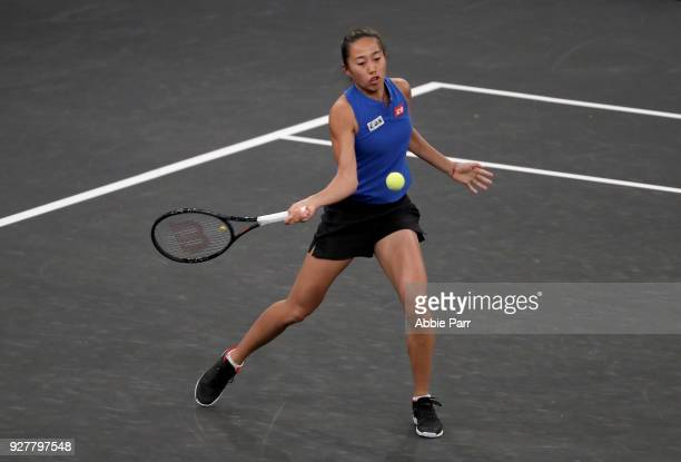 Shuai Zhang of China plays against Sorana Cirstea of Romania in the first round during the Tie Break Tens at Madison Square Garden on March 5 2018 in...
