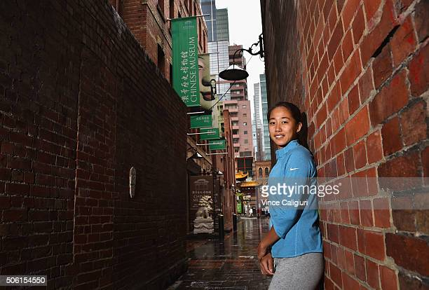 Shuai Zhang of China poses outside the Chinese Museum during Day five of the 2016 Australian Open at Melbourne Park on January 22 2016 in Melbourne...