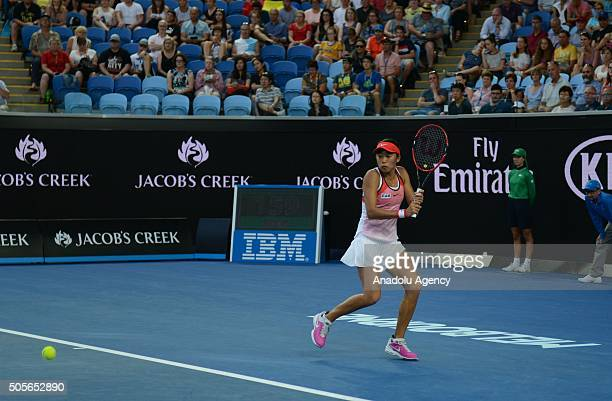 Shuai Zhang of China returns a shot against Simona Halep of Romania during day two of the 2016 Australian Open at Melbourne Park on January 19 2016...