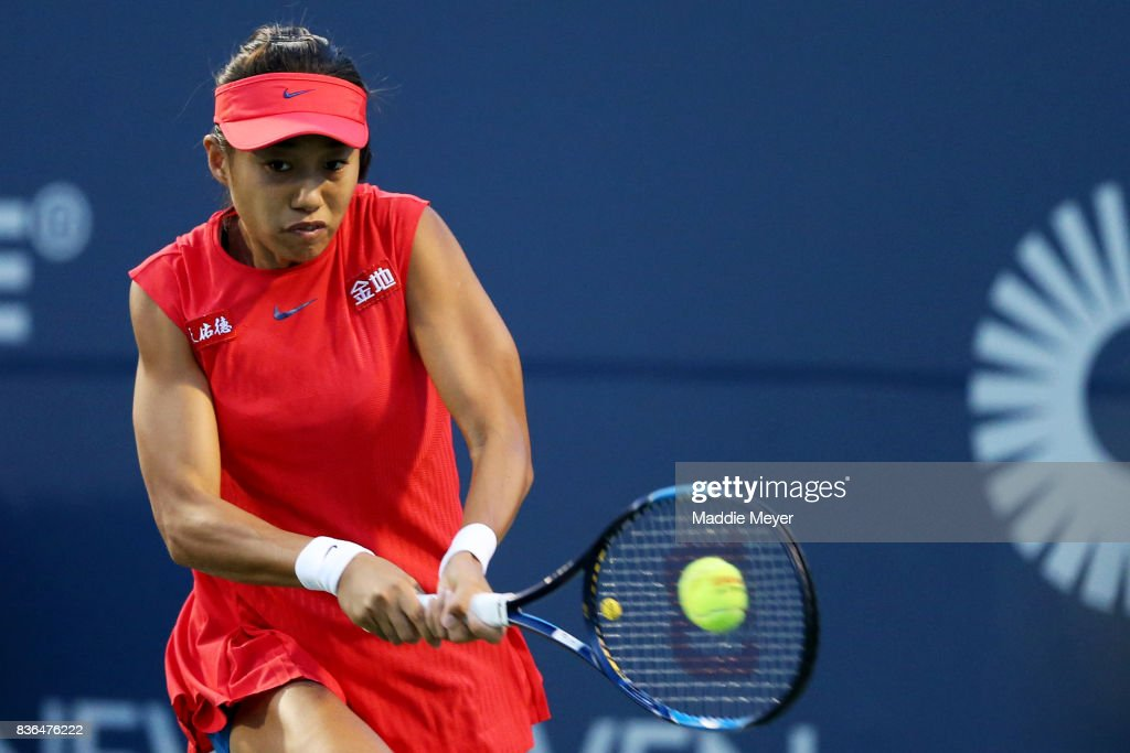 Shuai Zhang of China returns a shot to Petra Kvitova of Czech Republic during Day 4 of the Connecticut Open at Connecticut Tennis Center at Yale on August 21, 2017 in New Haven, Connecticut.