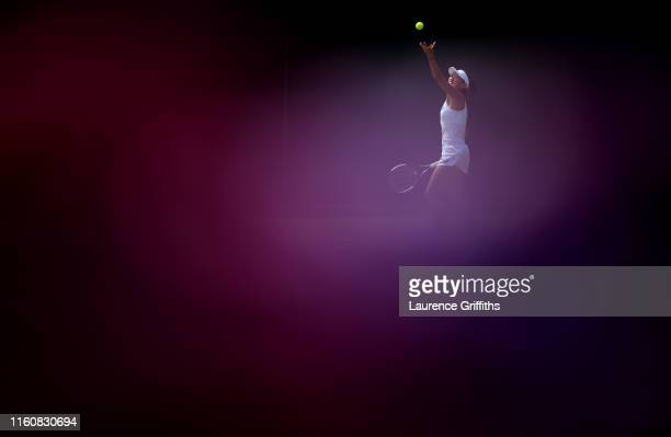 Shuai Zhang of China serves in her Ladies' Singles fourth round match against Dayana Yastremska of Ukraine during Day 7 of The Championships -...