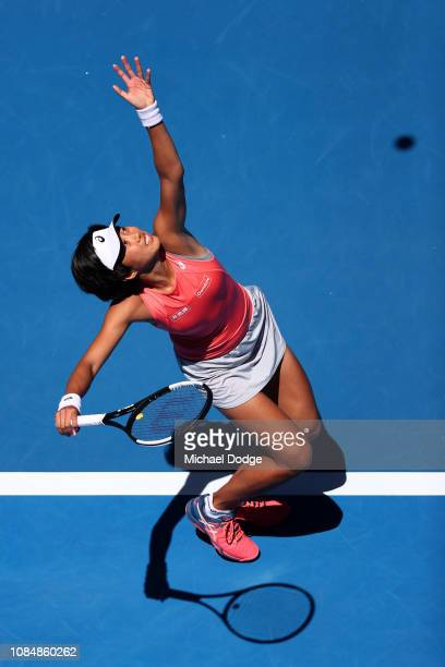 Shuai Zhang of China serves in her third round match against Elina Svitolina of Ukraine during day six of the 2019 Australian Open at Melbourne Park...