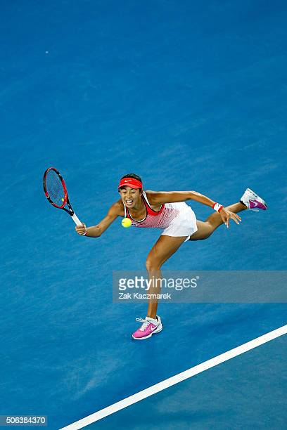 Shuai Zhang of China stretches for a forehand during her third round match against Varvara Lepchenko of United States of Americaduring day six of the...